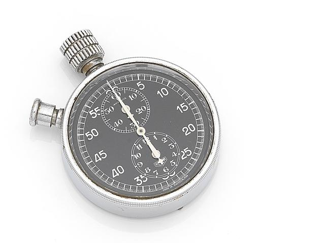 Heuer. A chrome plated manual wind chronograph dashboard stopwatch Autavia, Movement No.305184, Circa 1933