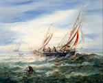 British School, T. Wested? (1916) Fishing smack at sea