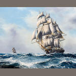 Franz Van Holles A three masted schooner in a heavy swell
