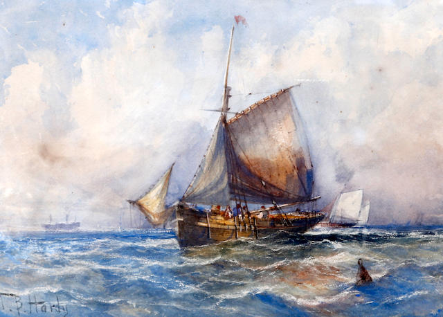 Follower of Thomas Bush Hardy (British, 1842-1897) Shipping scene in a calm
