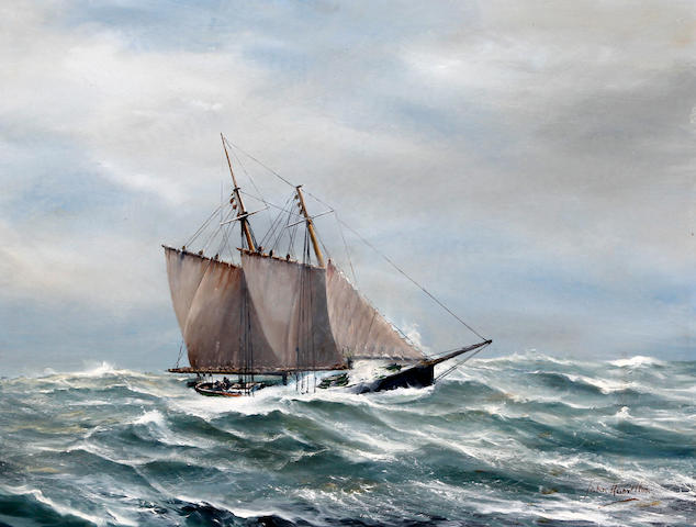 John  Hamilton (1919-1993) A twin masted vessel in a swell