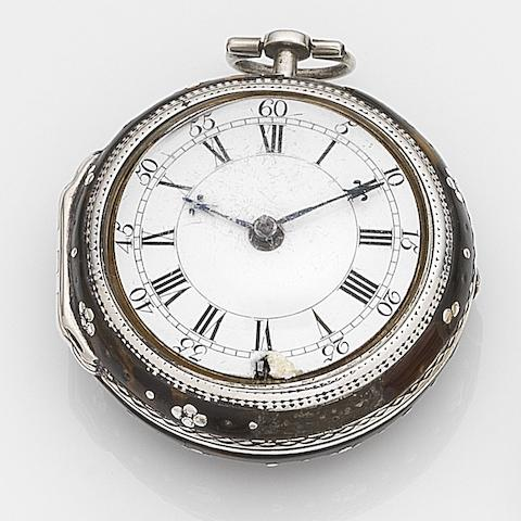 James Jones, London. A silver and painted horn key wind pair case pocket watchCirca 1750