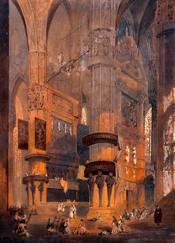 Arthur McArthur (British, active 1880-1920) Cathedral interior with figures