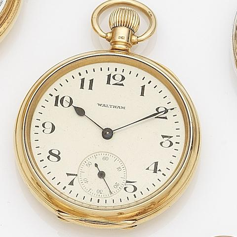 Waltham. An 18ct gold keyless wind open face pocket watch Case No.133588, Movement No.24040847, Birmingham Hallmark for 1918