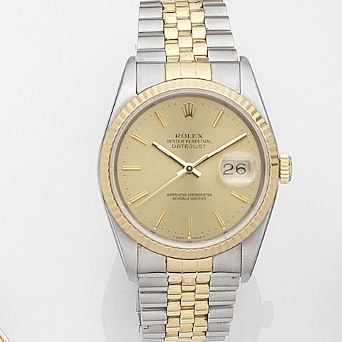 Rolex. A stainless steel automatic calendar bracelet watch with box and papers Datejust, Ref:16233, Case No.L99****, Movement No.549****, Sold 9th November 1991