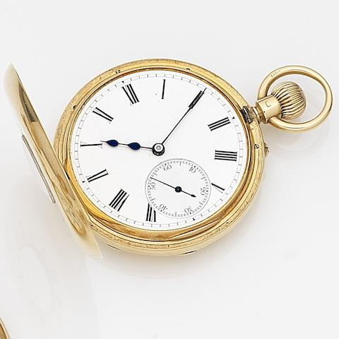 Showering, Bristol. An 18ct gold keyless wind half hunter pocket watchCase No.582, Movement No.244540, Birmingham Hallmark for 1902