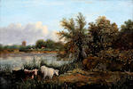 Norwich School, (early 19th century) Country river landscape with cattle seated by a tree before a cottage