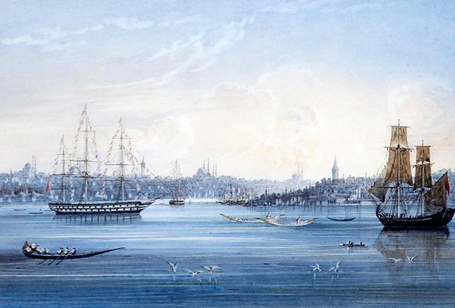 Circle of Luigi Maria Galea (Maltese, 1847-1917) 'Golden Horn, Constantinople'