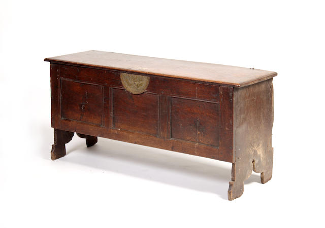 A mid-17th century and later elm coffer