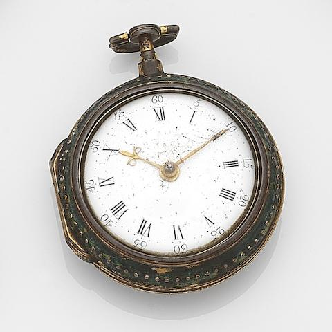 William Wall, Richmond. A gilt metal key wind pair case pocket watch with leather and pin work outer caseMovement No.387, Circa 1791