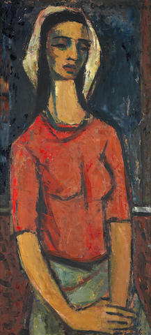 Maurice Charles Louis van Essche (South African, 1906-1977) 'Coloured girl standing'