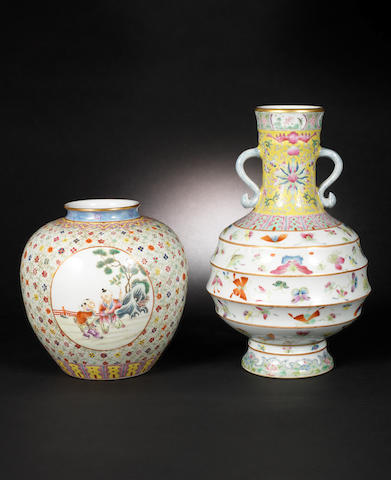 Two famille rose vases