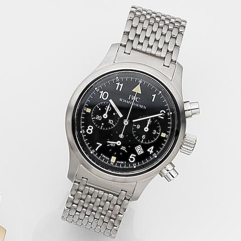 IWC. A stainless steel quartz chronograph calendar bracelet watch with box and papers Der Fliegerchronograph, Ref.3741, Case No.2514198, Movement No. 2520418, Circa 1992