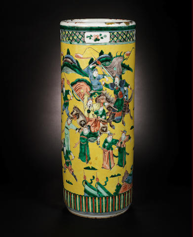 A famille verte umbrella stand Possibly Qing Dyansty