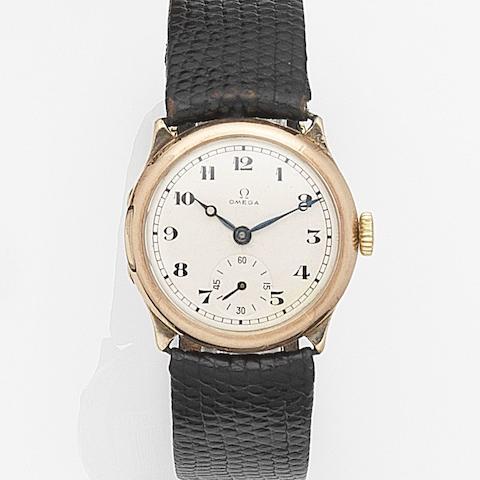Omega. A 9ct gold manual wind wristwatch Case No.6513193, Movement No.6080027, Circa 1923