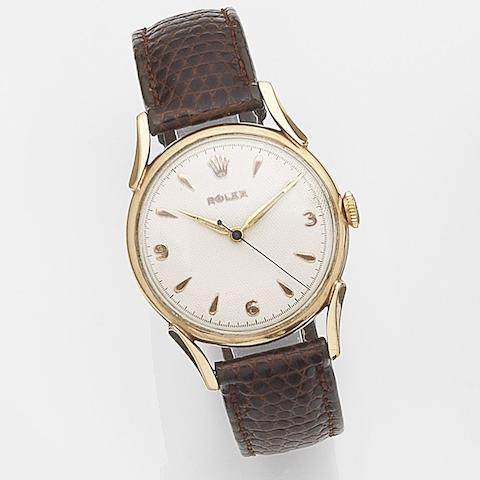 Rolex. A 9ct gold manual wind centre seconds wristwatch Case No.835625, Movement No.N91899, Circa 1952