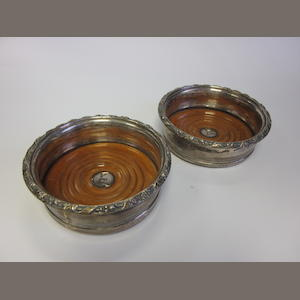 A pair of George IV  silver wine  coasters by Roberts, Mosely & Settle, Sheffield 1812  (2)