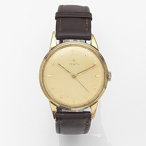 Zenith. An 18ct gold manual wind centre seconds wristwatch Case No.454032, Movement No.3871732, Circa 1960