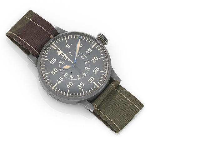 Laco. A nickel plated manual wind German military issue pilot's observation wristwatch Ref:FL23883, Movement No.15525, Circa 1940