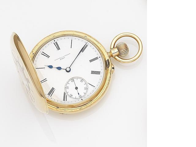 Donne & Son, London. An 18ct gold half hunter keyless wind pocket watch Case, Dial and Movement No.2201, London Hallmark for 1900