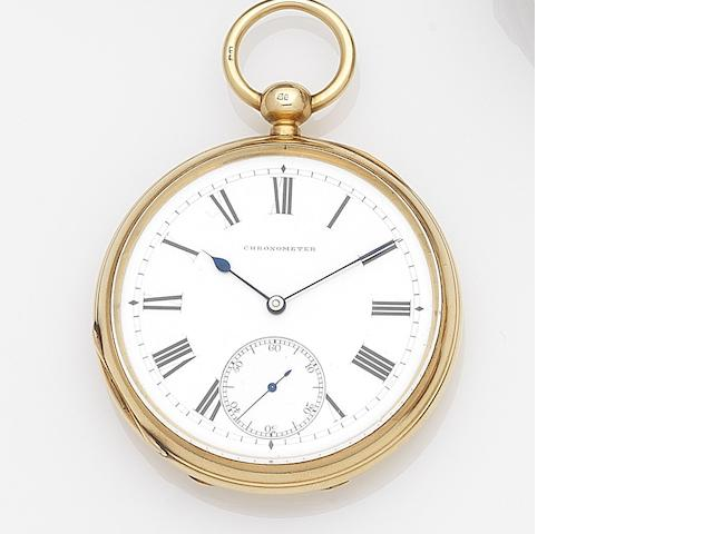 James Hoddell & Co., London. An 18ct gold keyless wind open face free sprung chronometer pocket watch Case and Movement No.17075, London Hallmark for 1883