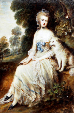 After Thomas Gainsborough, R.A. Portrait of a lady seated with dog before woodland