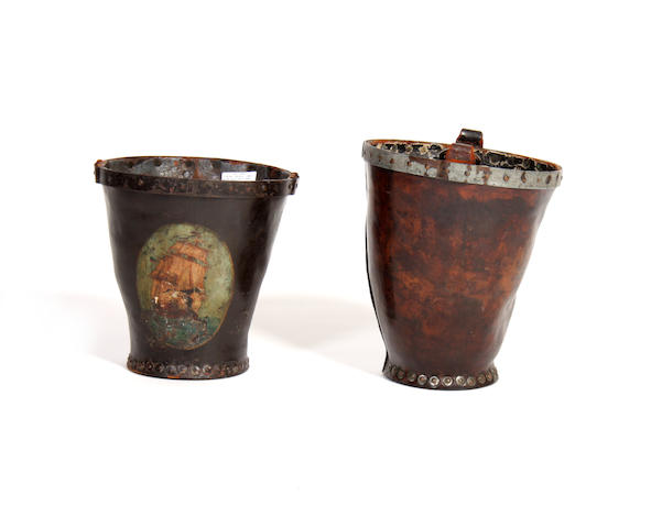 Two 19th century leather buckets