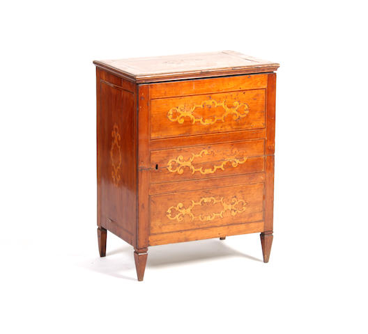 A 19th century French fruitwood and marquetry cabinet