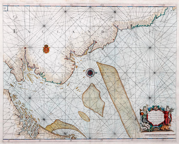 Captain Greenvile Collins (British, active 1669-1696) A sea chart, of the North Sea with English Coast from 'Barwick' to Pevensey and coast of Flanders and Holland, with scale and cartouche