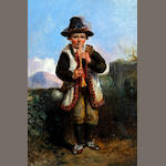 British School, R. G. Sweeting (later 19th century) A Swiss/Italian boy playing the pipes