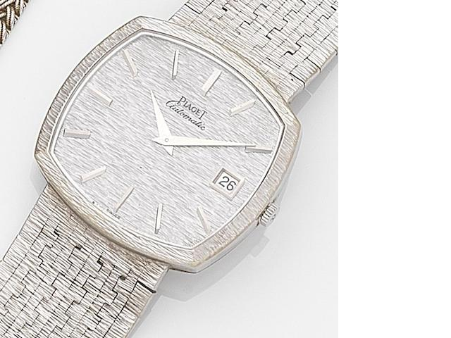 Piaget. An 18ct white gold calendar automatic bracelet watch Ref:13401A6, Case No.201064, Circa 1975