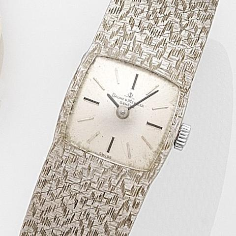 Baume & Mercier. A lady's 18ct white gold manual wind bracelet watchCase No.382394, Circa 1965