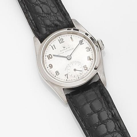 Rolex. A rare stainless steel manual wind wristwatch with Kew A Certificate Oyster Speedking, Ref:5056, Case No.628840, Movement No.4261, Circa 1948