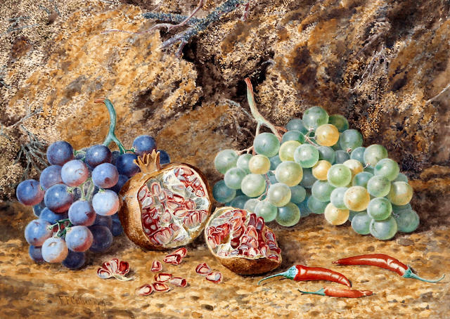 Thomas Frederick Collier (British, active 1850-1889) Still life of grapes, pomegranate and chillies