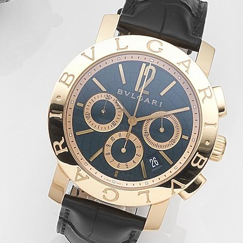 Bulgari. An 18ct rose gold automatic calendar chronograph wristwatch with box and papersDiagono, Ref:BB P 42 GL CH, Case No.O 009 077/199, Movement No.556873, Sold 14th November 2011