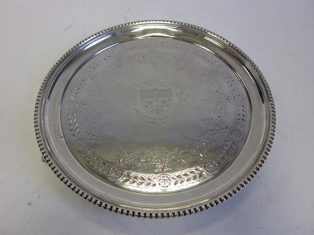 A Victorian silver salver by Martin Hall & Co, London 1870 together with other silver items: