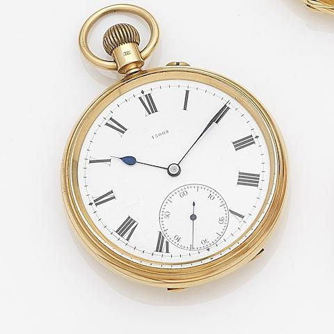 Johnson, Walker & Tolhurst Ltd., London. An 18ct gold keyless wind open face pocket watchCase, Dial and Movement No.15008, London Hallmark for 1899