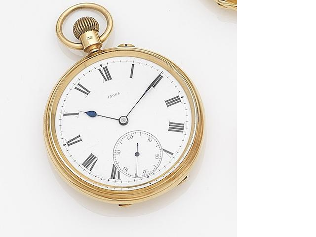 Johnson, Walker & Tolhurst Ltd., London. An 18ct gold keyless wind open face pocket watch Case, Dial and Movement No.15008, London Hallmark for 1899