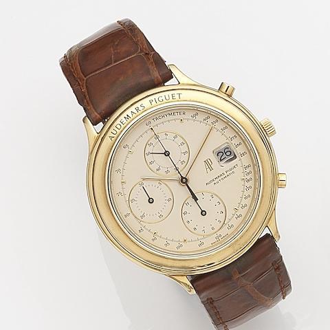 Audemars Piguet. An 18ct gold automatic calendar chronograph wristwatch Case No.C97550, Movement No.355639, Circa 1995