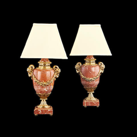 A pair of Louis XVI style marble and gilt metal mounted lamp bases