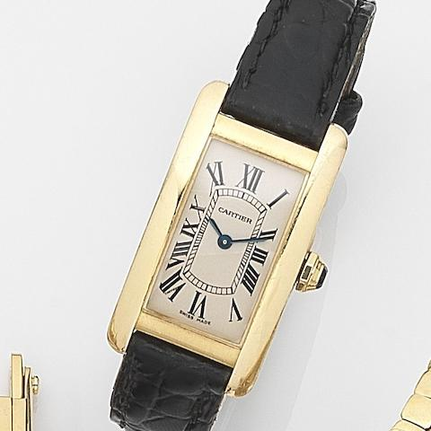 Cartier. An 18ct gold quartz wristwatchTank Américaine, Ref:2482, Case No.137096NX, Circa 2005