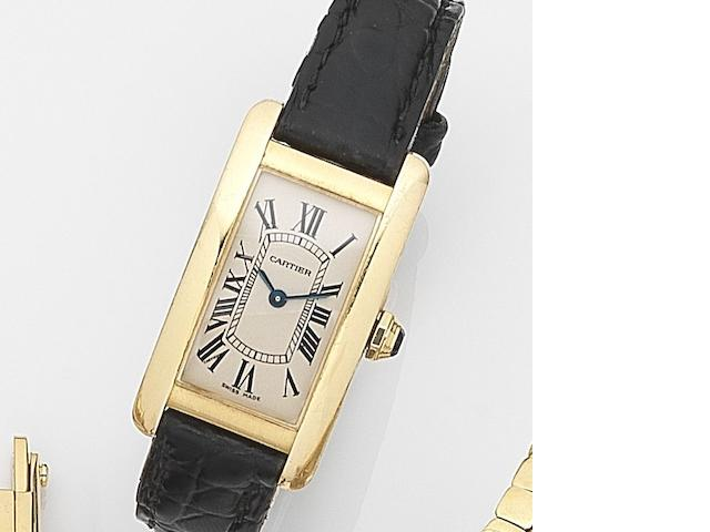 Cartier. An 18ct gold quartz wristwatch Tank Américaine, Ref:2482, Case No.137096NX, Circa 2005
