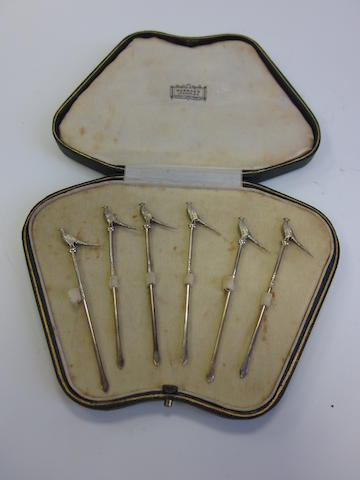 "A cased set of six silver-gilt ""Pheasant"" cocktail sticks William Suckling Ltd, Birmingham 1932"