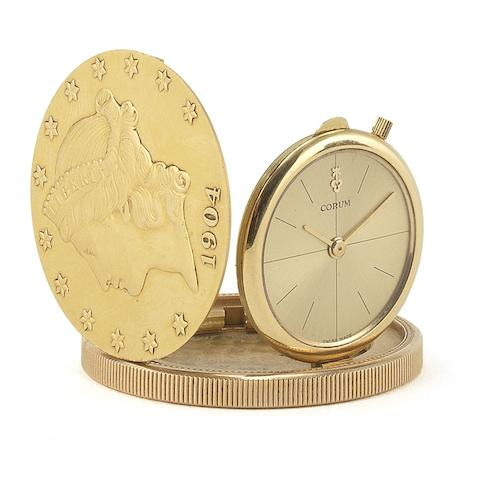 Corum. An 18ct gold manual wind concealed face twenty dollar coin wristwatch Case No.5742, Movement No.35428, Circa 1975
