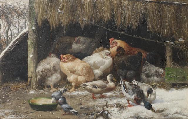 Eugène Rémy Maes (Belgian, 1849-1931) On a winters morn