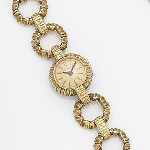 Jaeger-LeCoultre. A lady's 18ct gold manual wind bracelet watchCase No.1121523, Movement No.1083372, Circa 1955