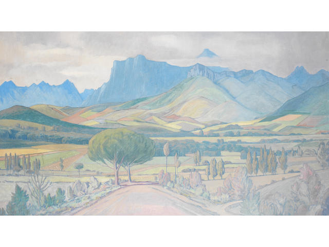 Jacob Hendrik Pierneef (South African, 1886-1957) Landscape, Stellenbosch