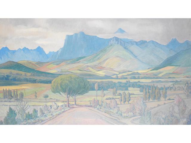 Jacob Hendrik Pierneef (South African, 1886-1957) Landscape, Stellenbosch
