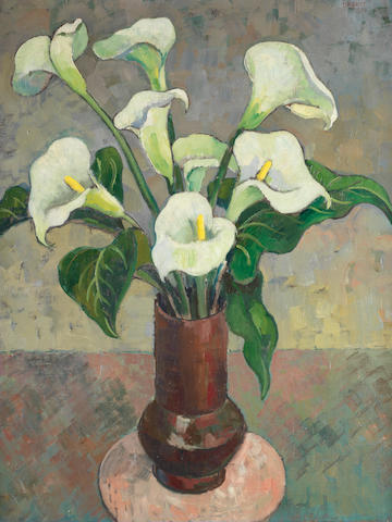 Gregoire Johannes Boonzaier (South African, 1909-2005) Arum lilies in a vase