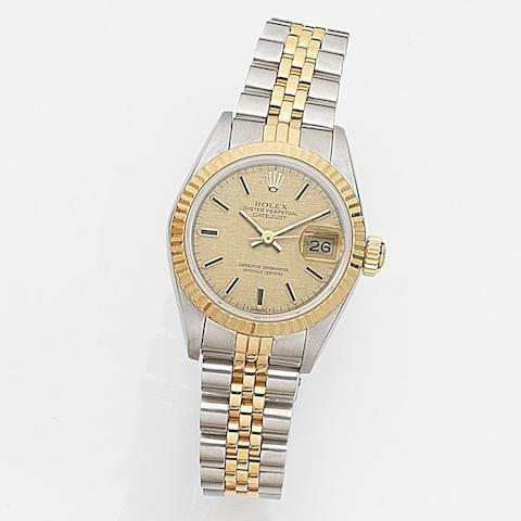 Rolex. A lady's stainless steel and gold automatic calendar bracelet watchDatejust, Ref:69173, Case No.905****, Movement No.337***, Circa 1986